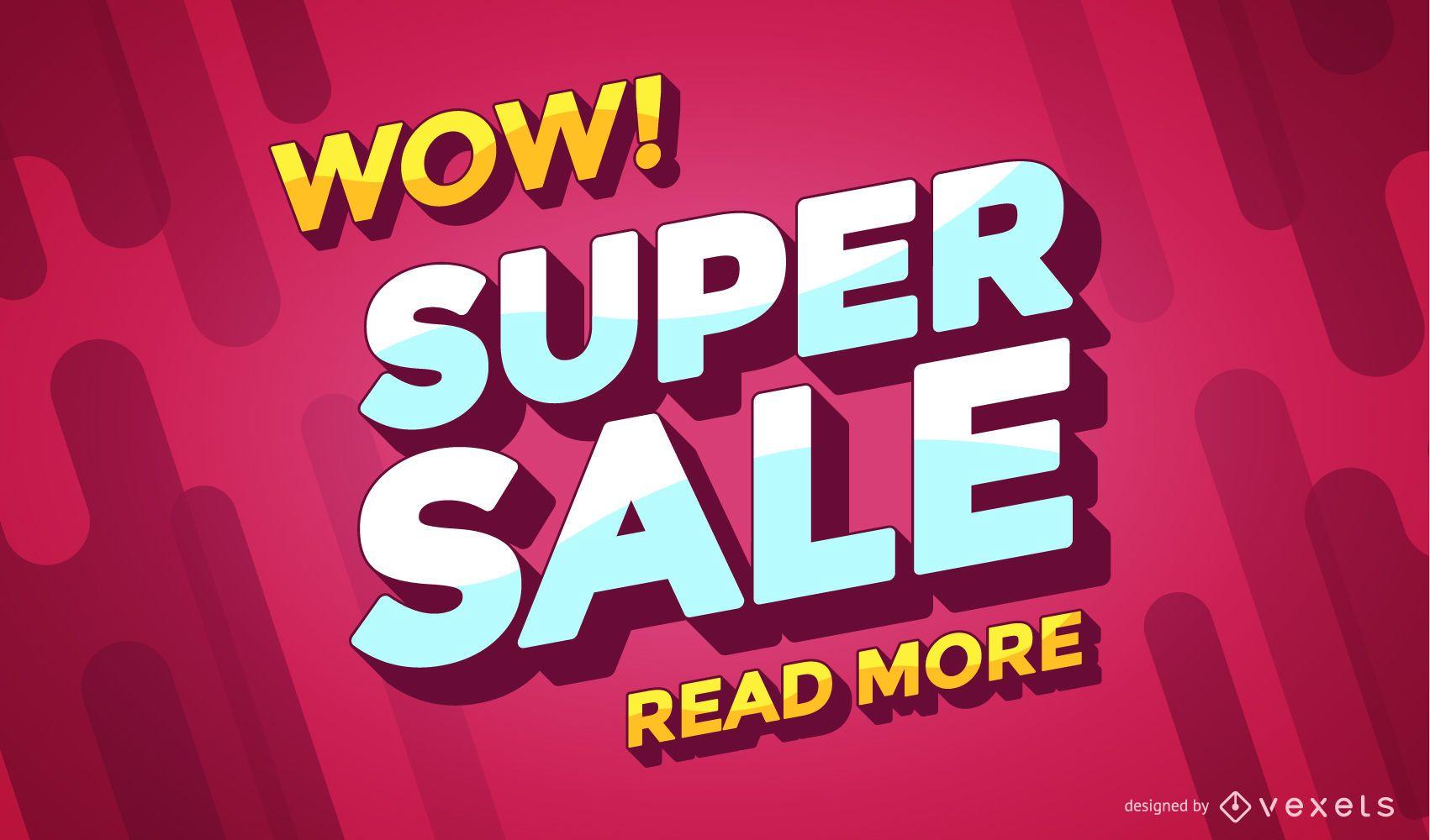 Banner de compras en línea de super venta