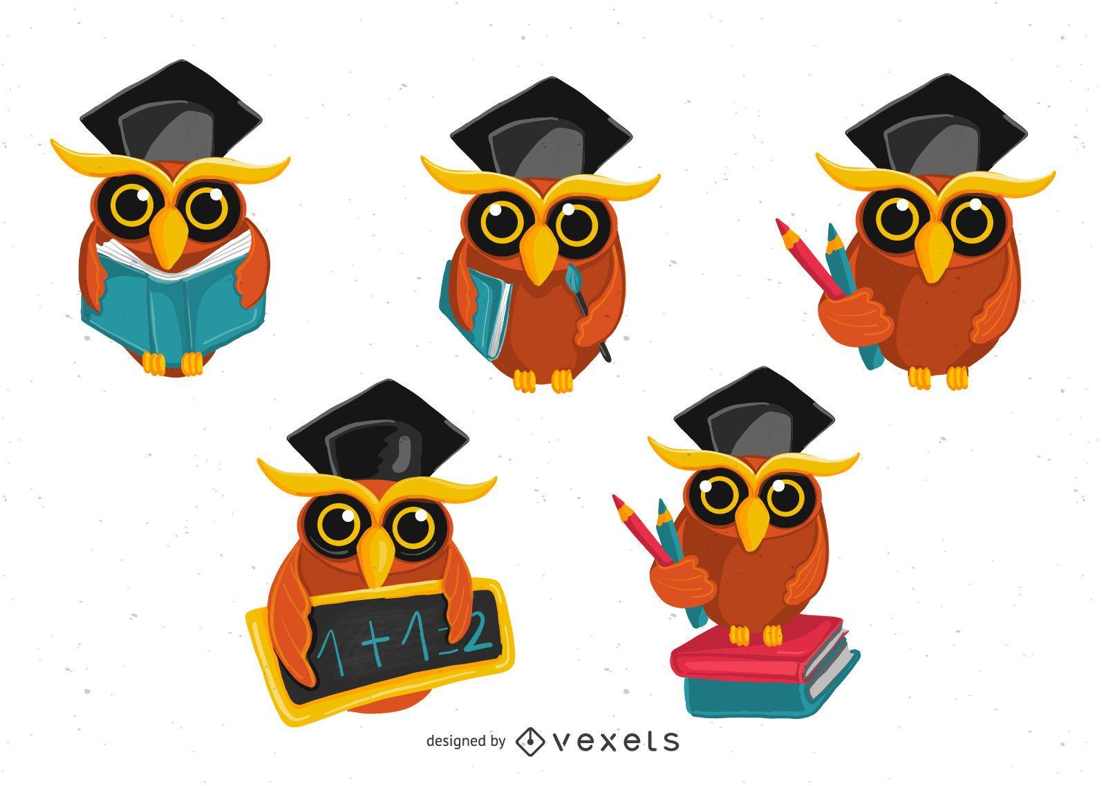 Conjunto de ilustración de búho escolar
