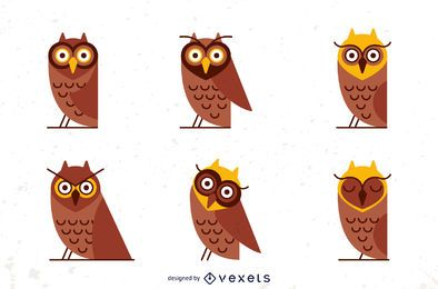 Flat owl illustration set