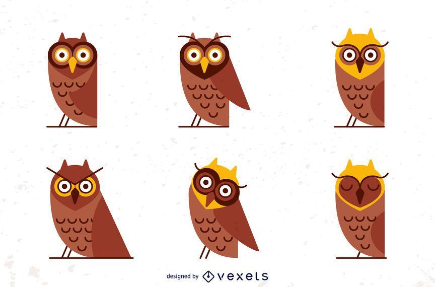 Conjunto de ilustração de coruja plana
