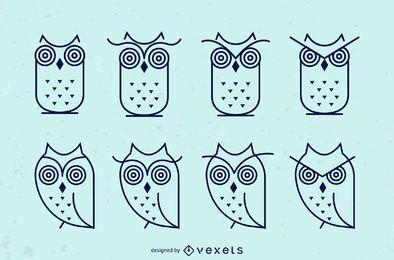 Conjunto de ícones de traçado de coruja