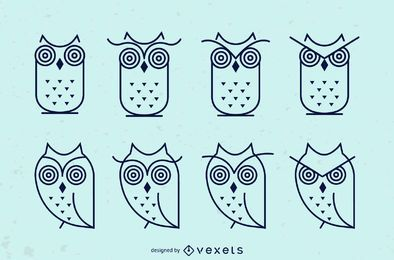 Owl stroke icon set