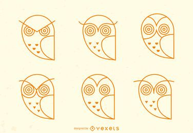 Owl emoji stroke icon set