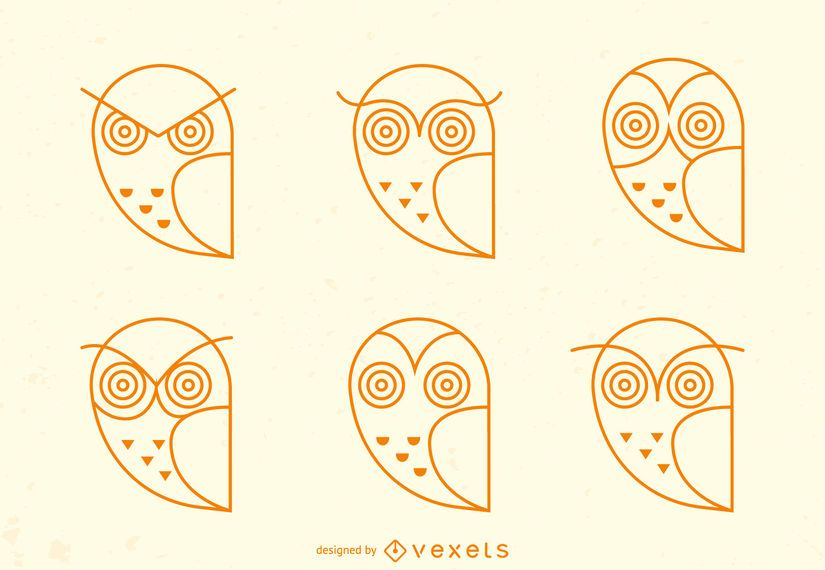 Owl emoji stroke icon set
