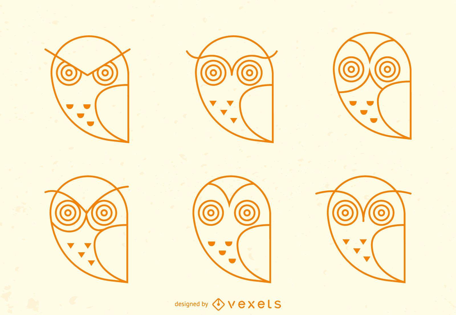 Conjunto de iconos de trazo de emoji de búho