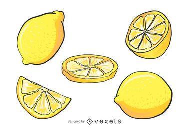 Conjunto de ilustración de limón