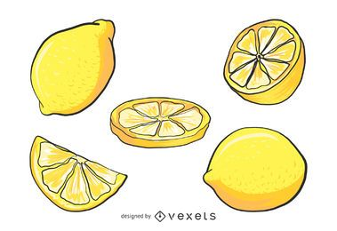 Lemon illustration set