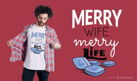 Projeto de camiseta feliz esposa