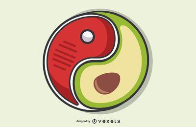 Ilustración de Yin Yang de dieta cetogénica de carne y aguacate