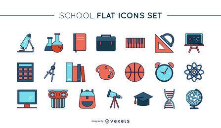 Conjunto de iconos de línea delgada escuela