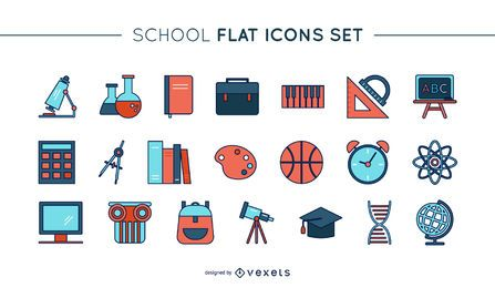Thin line school icons set
