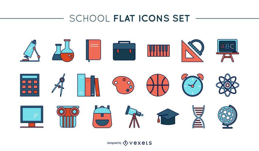 Conjunto de ícones de escola de linha fina