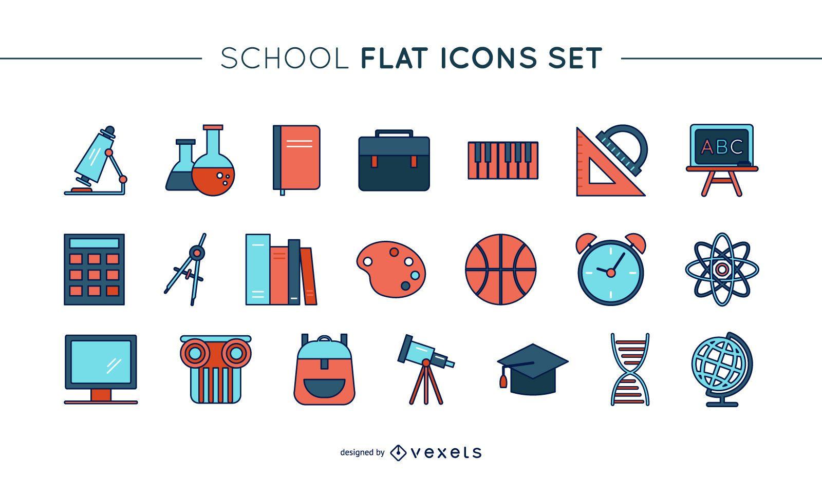 Conjunto de iconos de escuela de línea delgada