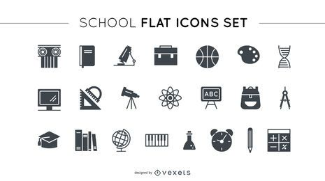 Conjunto de iconos planos de la escuela