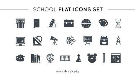 Conjunto de iconos planos escolares