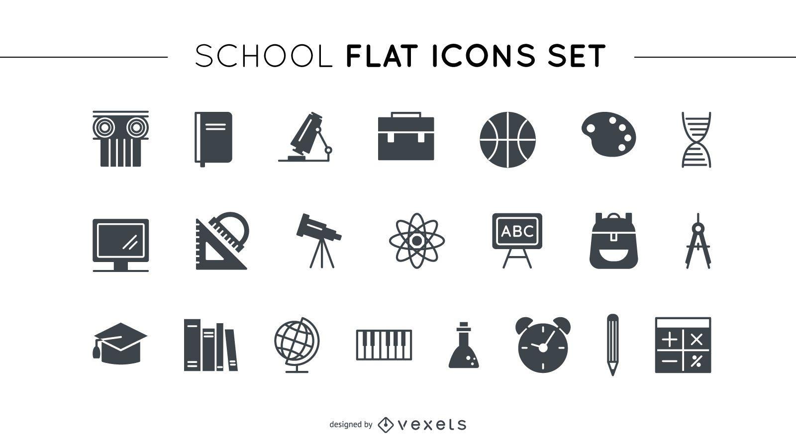 Conjunto de iconos planos de escuela
