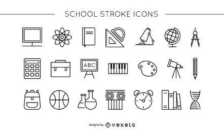 Conjunto de ícones de traçado de escola