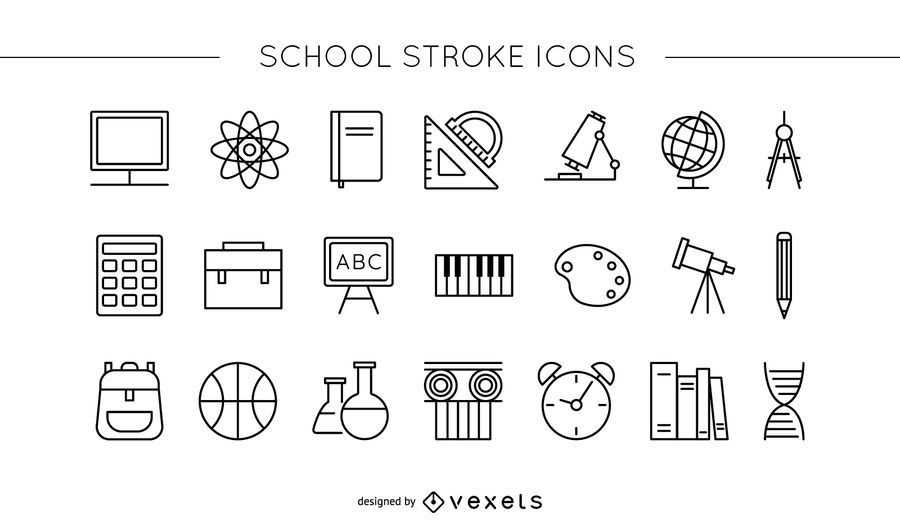 School stroke icon set