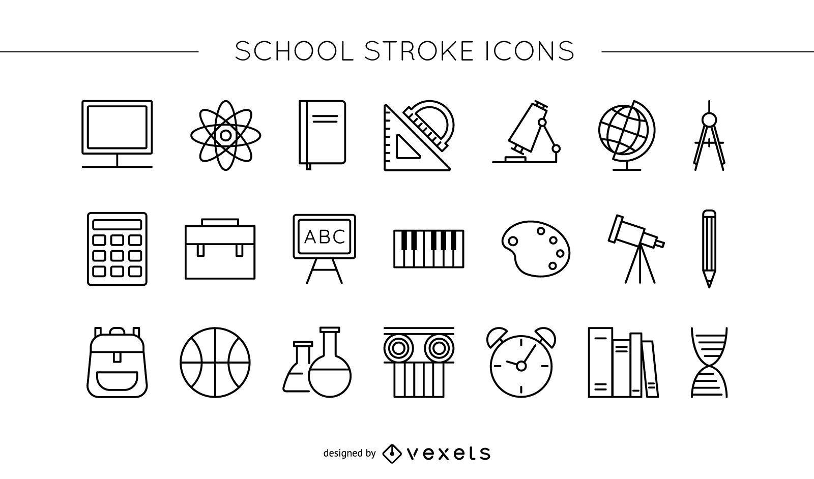 School stroke icon set