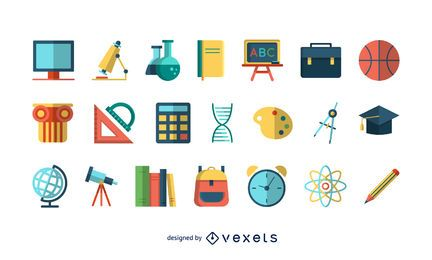 Colorful school icons set