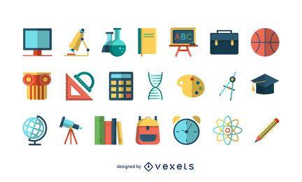 Conjunto de ícones coloridos escola