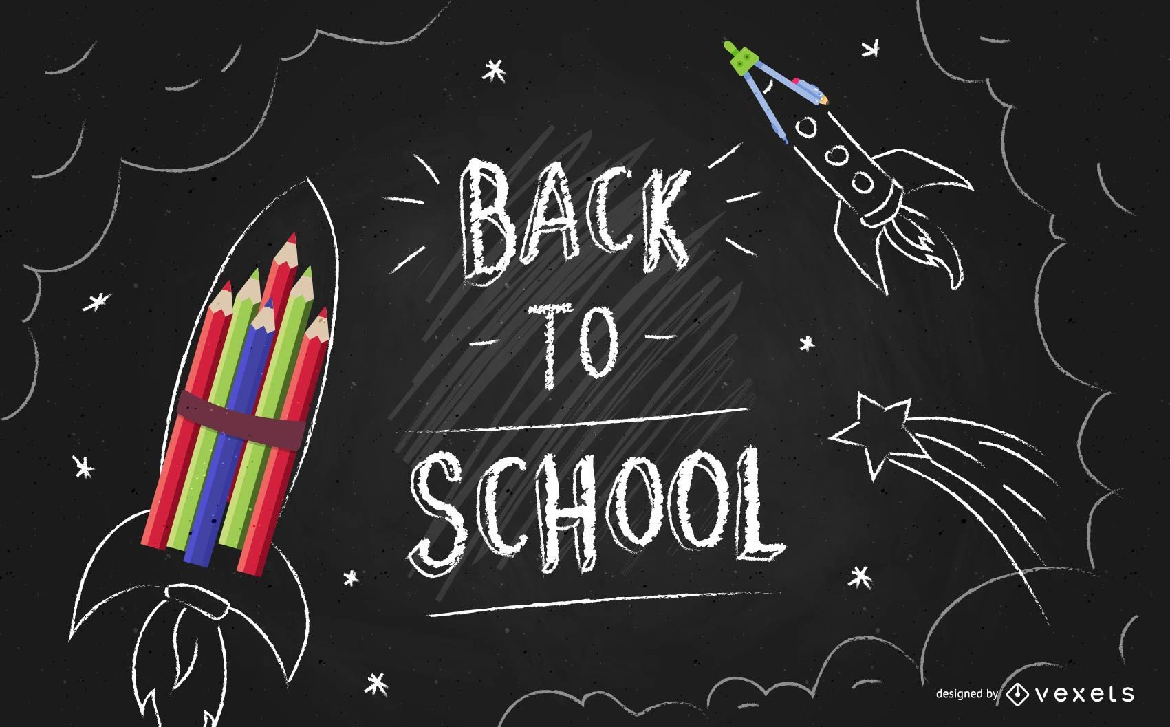 Back to school blackboard flyer