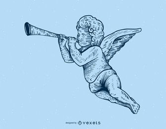 Cupid playing trumpet illustration