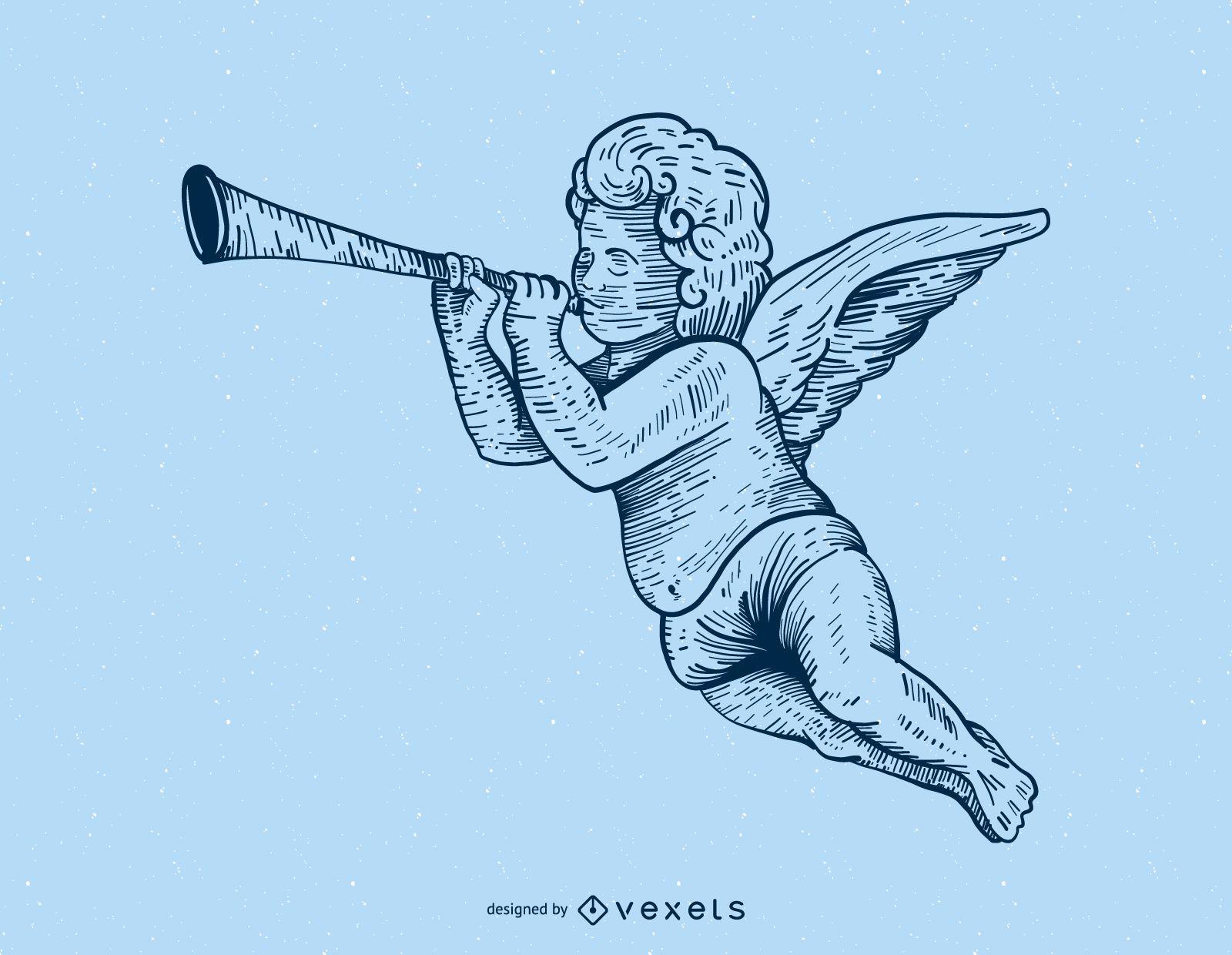 Cupid playing trumpet illustration