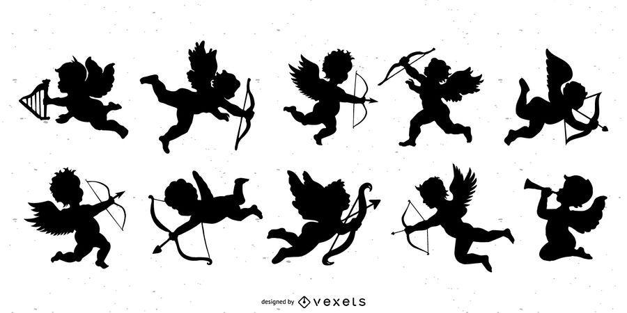 Conjunto de silueta de Cupido