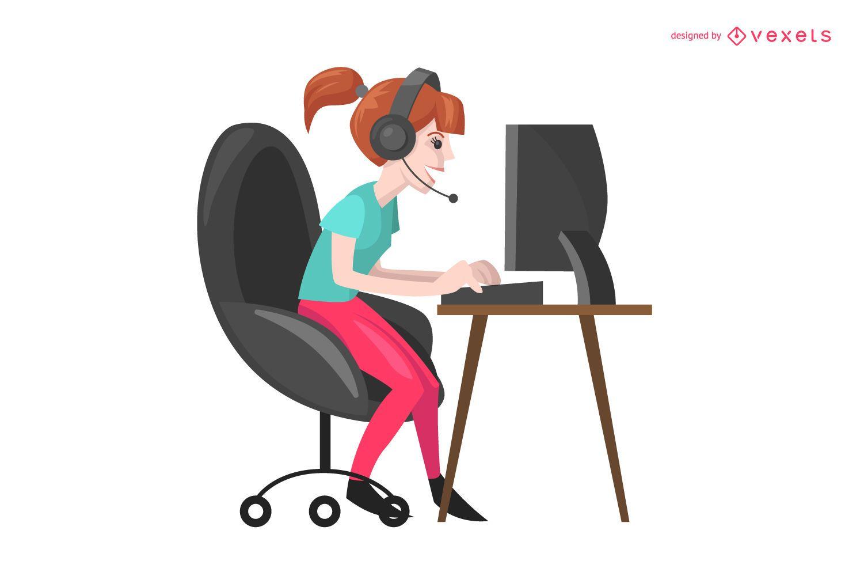 Gamer girl illustration