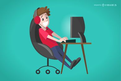 Flat boy gamer illustration
