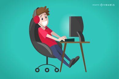 Ilustração de gamer menino liso
