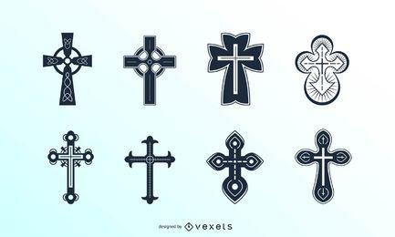 Ausführliche christliche Kreuze eingestellt