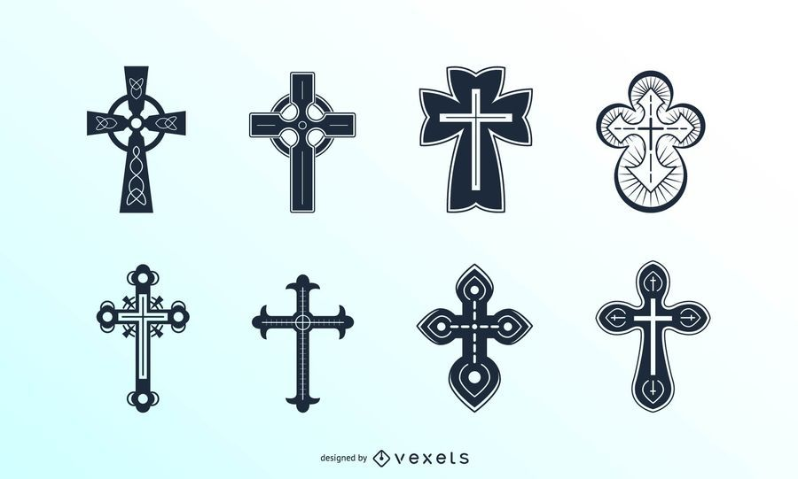 Detailed christian crosses set