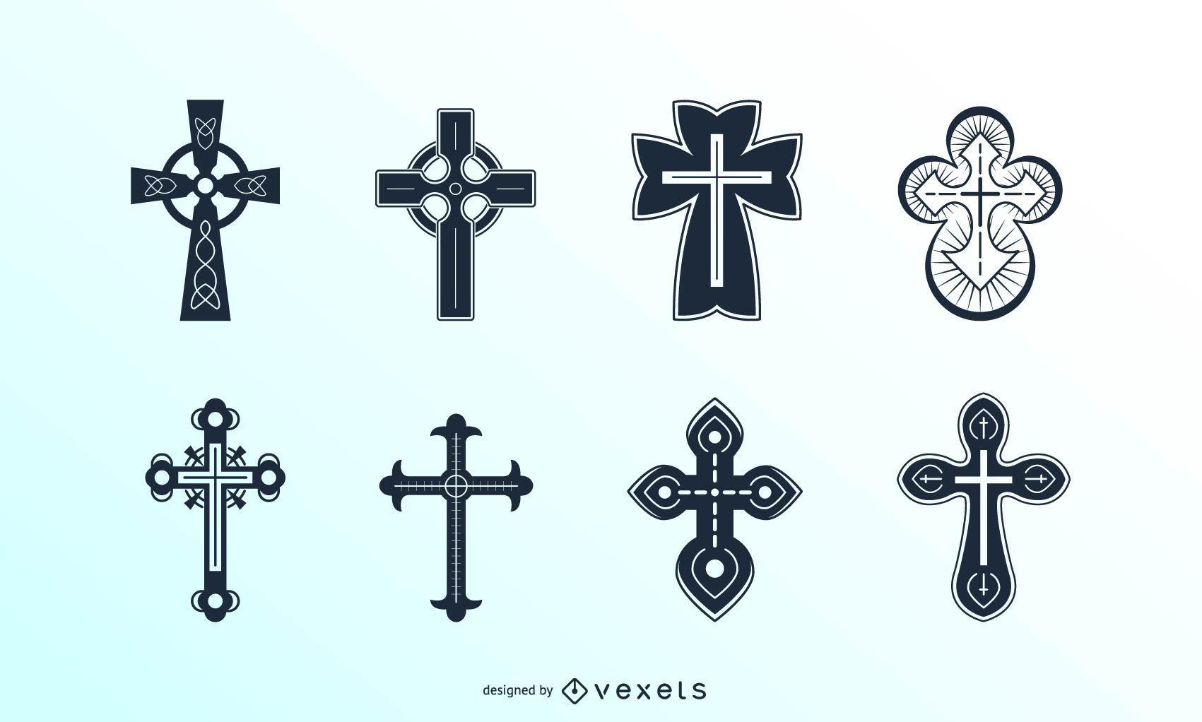 Detailed christian crosses set
