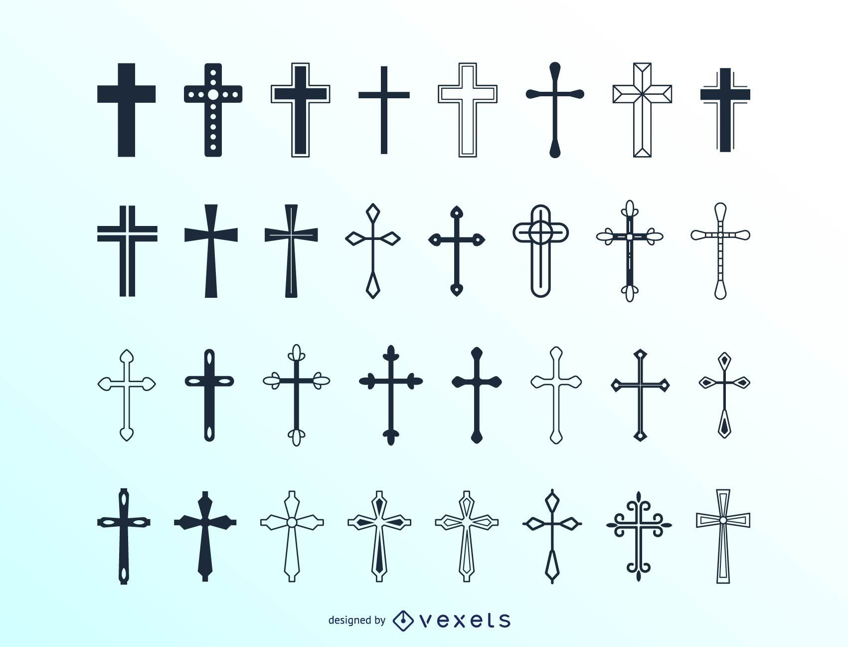 Gran colección de cruces cristianas