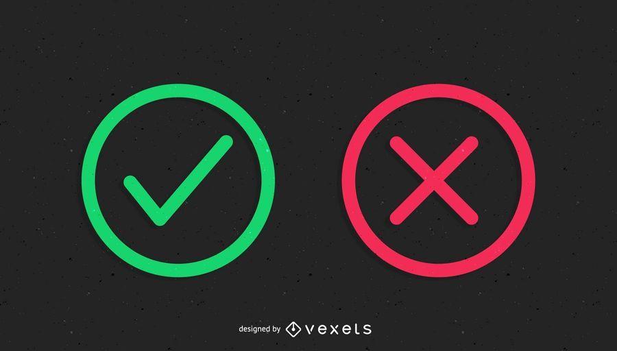Iconos correctos e incorrectos