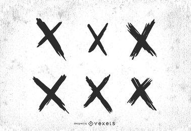 Conjunto de marcas de cruz X
