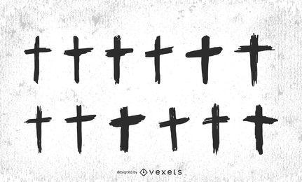 Conjunto de cruces cristianas dibujadas a mano