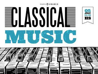 Póster de música clásica para piano.