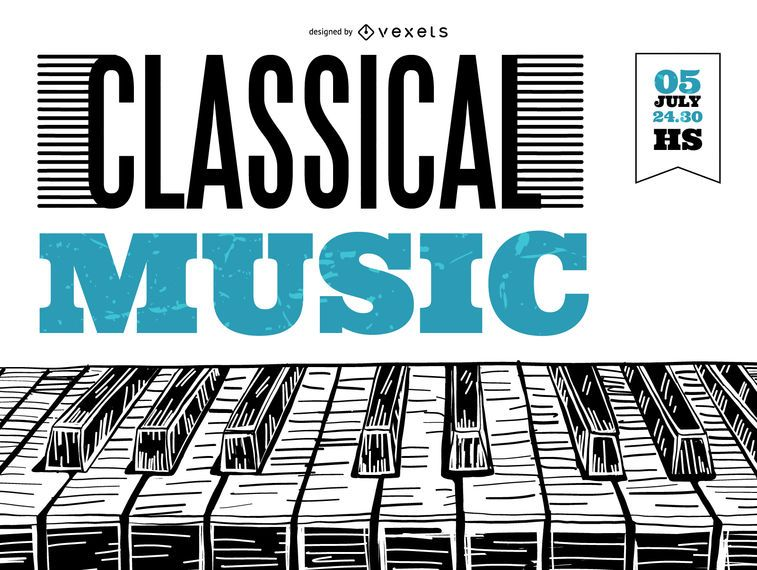 Plakat der klassischen Musik des Klaviers