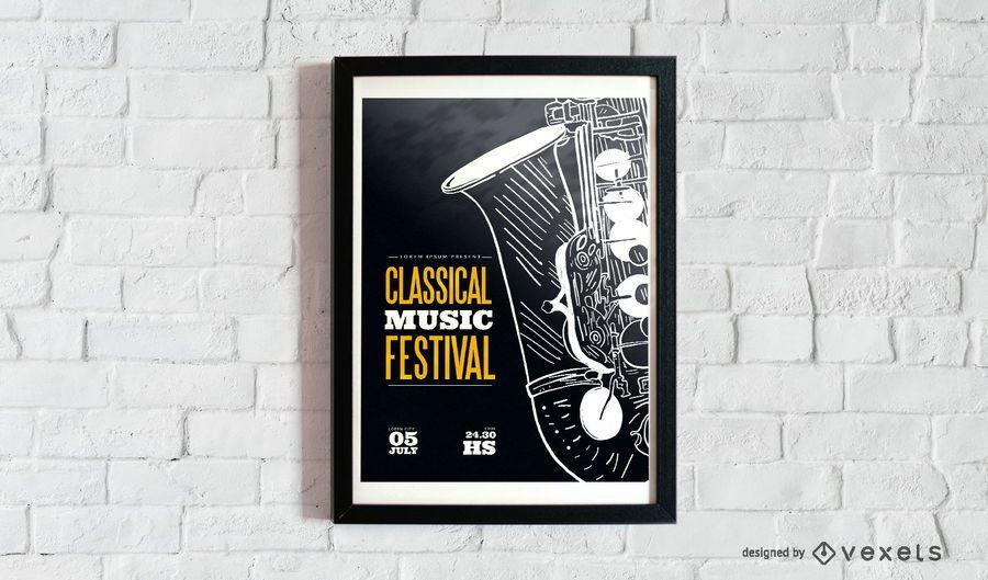 Cartaz de música clássica de saxofone