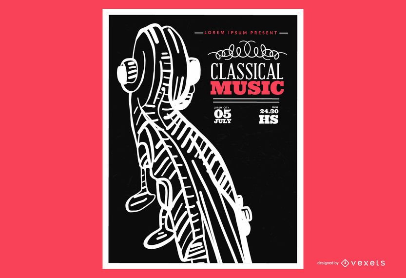 Cartel de música clásica de violín.