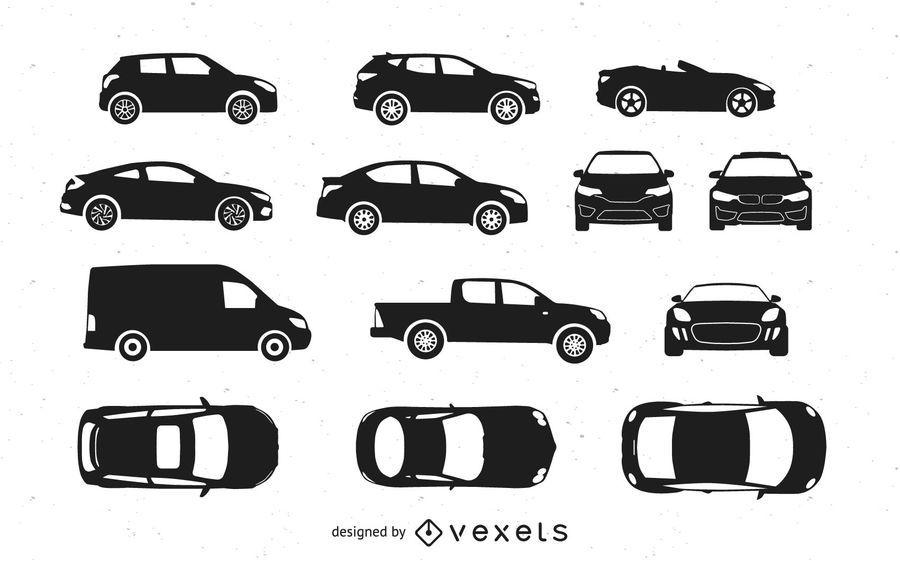 Conjunto de silhueta de carros