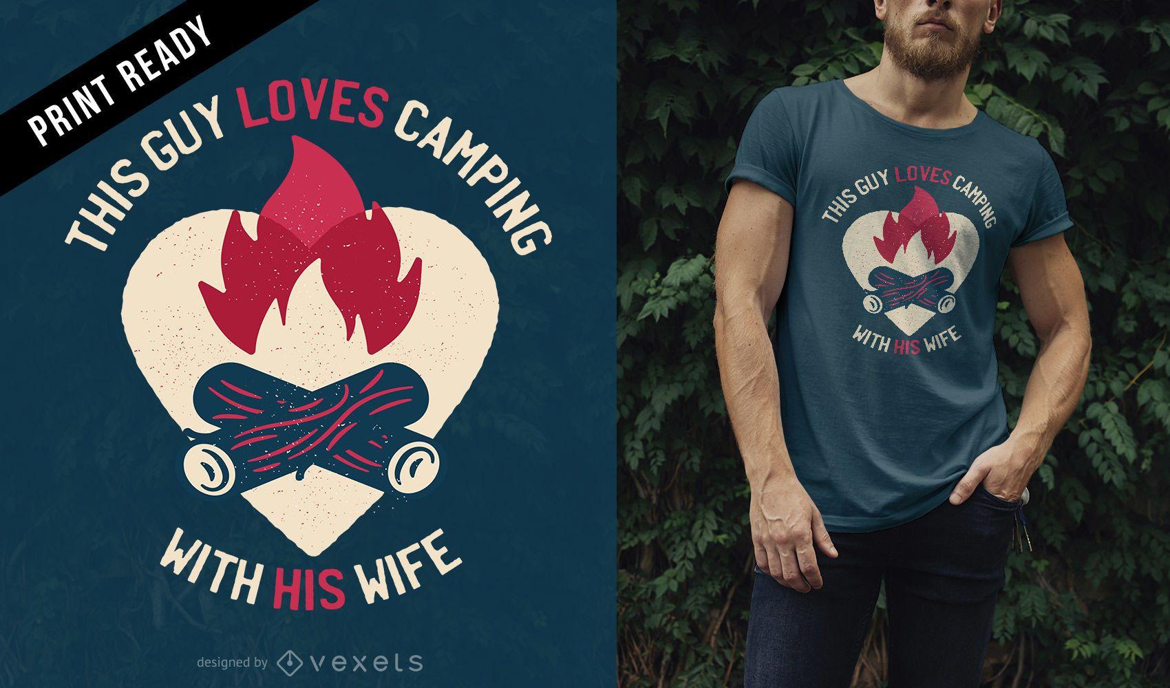 Chico ama el diseño de camisetas de camping