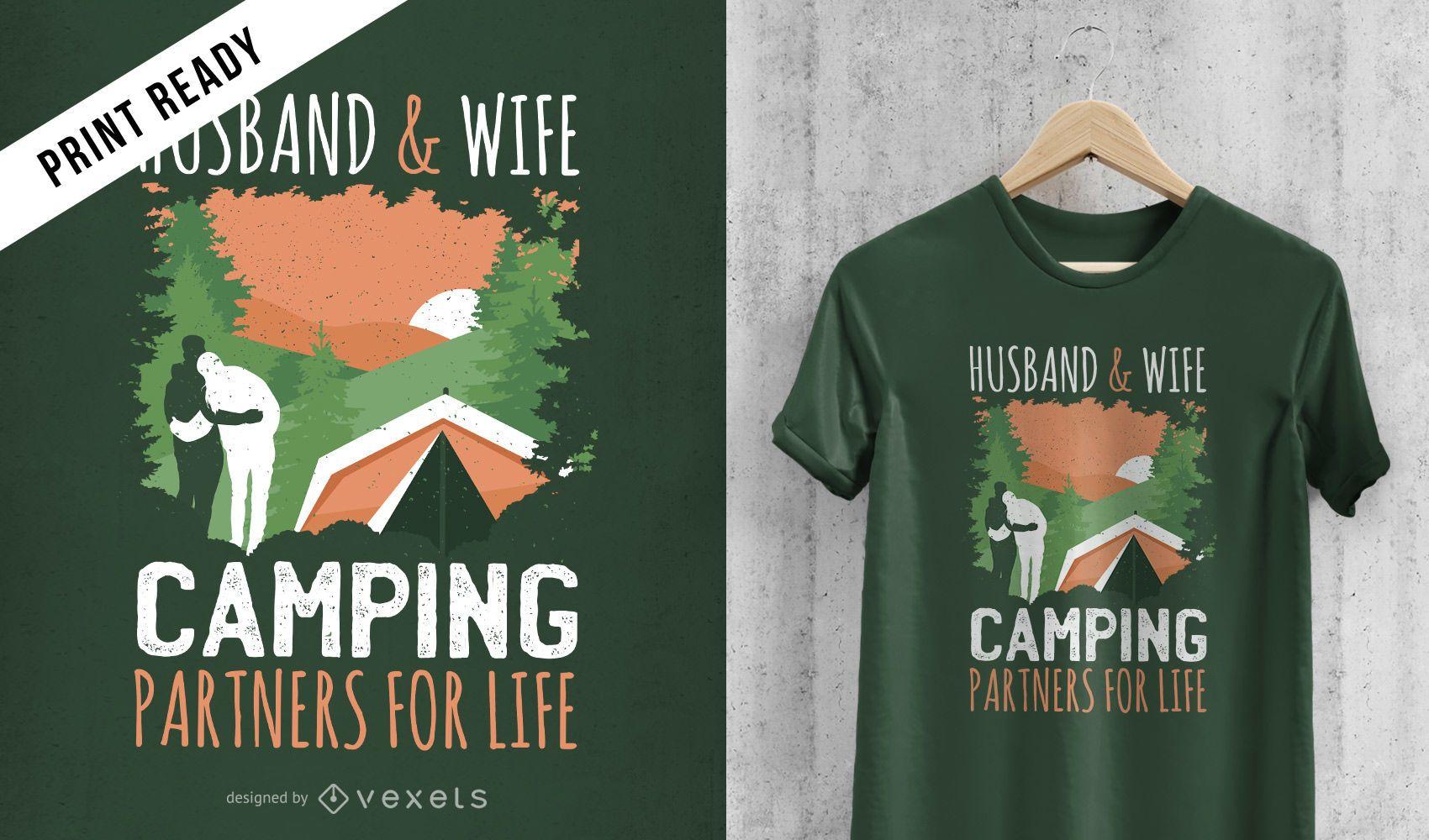 Diseño de camiseta de pareja de camping