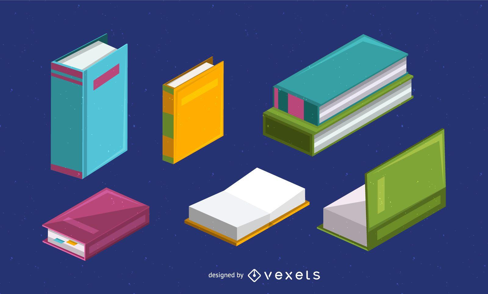 Conjunto de ilustración de libro isométrico