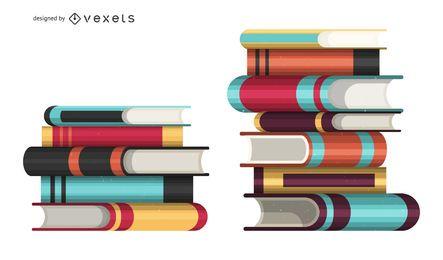Livro, pilhas, ilustração