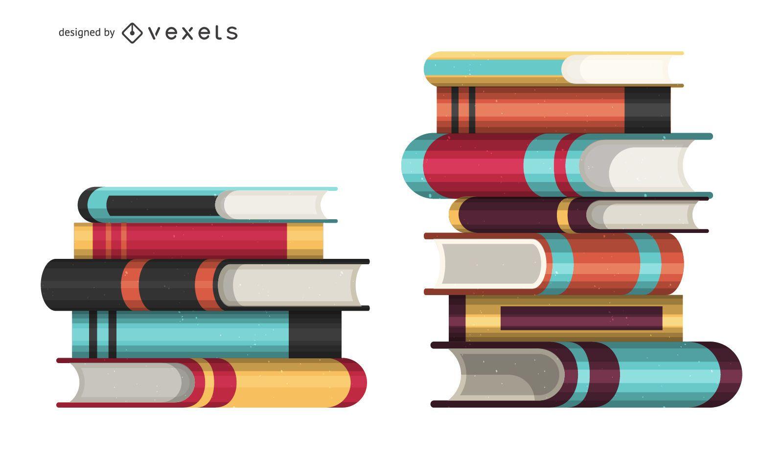 Book piles illustration