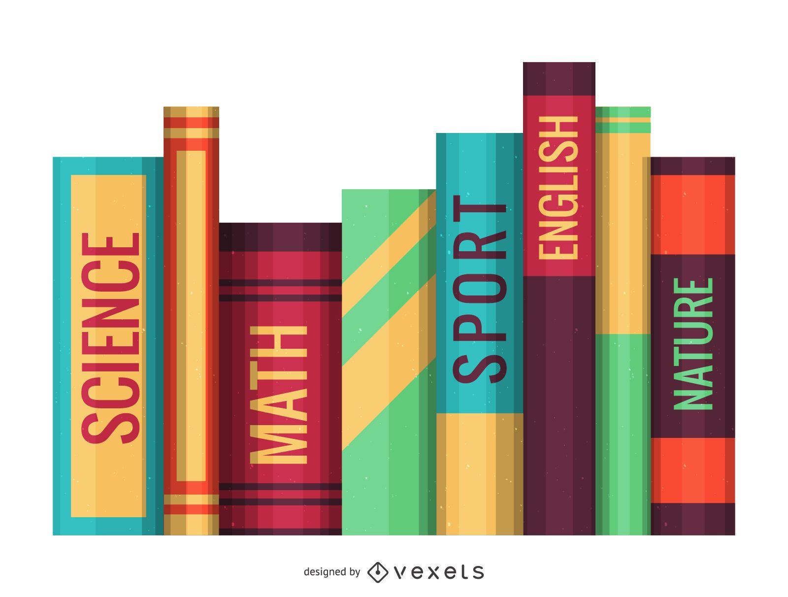 Ilustración de fila de libros escolares